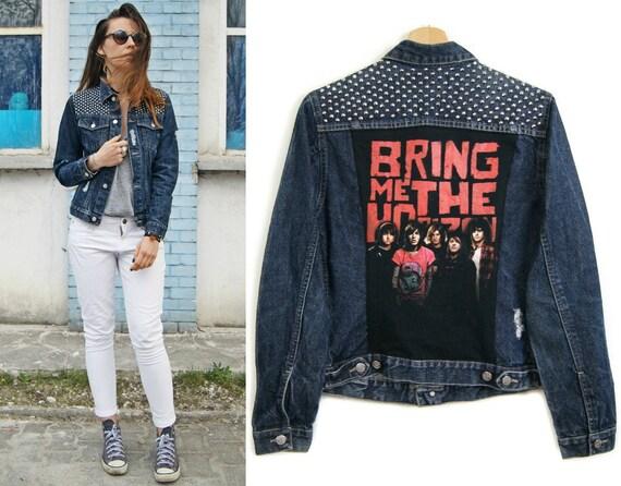 BRING me the HORIZON denim JACKET navy blue distressed jeans jacket ...