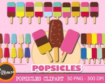 """SALE Popsicle Clipart : """"POPSICLES Clipart"""" -Beach Ice Lollies Clipart, Ice Pop Digital, Ice Cream Bar Clipart - Personal Commercial Use"""