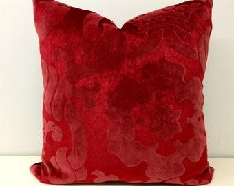 Red Velvet Pillow Cover, Red Pillow, Velvet Pillow, Cushion Covers, Upholstery Red Velvet Fabric, Red Decorative Velvet Couch Throw Pillows