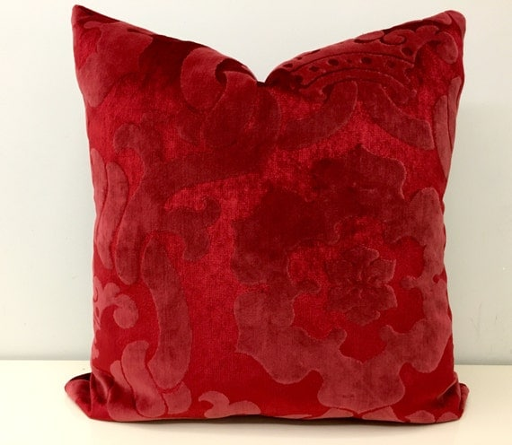 Red Velvet Pillow Cover Red Pillow Velvet Pillow by artdecopillow