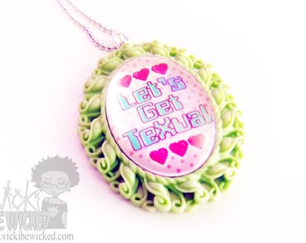Let's Get Texual, Cute, Kawaii, Glass Cameo Necklace