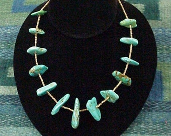 Vintage Royston Nugget Turquoise and Heishi Necklace
