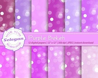 "bokeh digital paper "" Purple Bokeh "" scrapbooking 12x12 printable lighting pattern glitter texture bokeh glow background download"