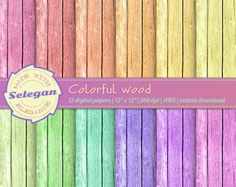 Colorful Wood, Digital Paper, Scrapbooking, Paper, 12x12, Printable, Wood, Pattern,Texture, Background