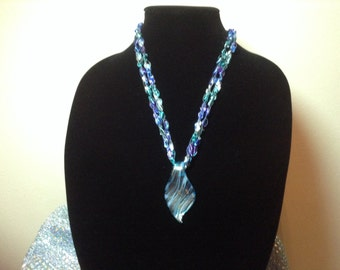 Foil Glass Pendant and Crochet Necklace