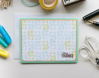 Many Cats Thank You Card, Stampin Up Handmade Greeting Card