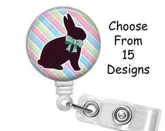 Bunny Rabbit Badge Reel, Medical Badge Reel, ID Badge Holder, Retractable, Easter Badge Reel, Holiday Badge Reel, Belt or Alligator clip