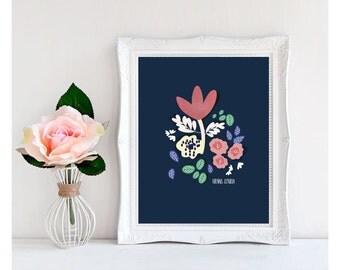 Printable Art, Instant download print, Rose poster printable, Blue background rose, Motivational Poster, Wall Decor, Digital download card.