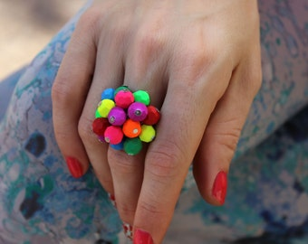 Colorful Ring, Adjustable Ring, Multicolor Ring, Neon Ring, Beach Ring, Novelty Ring, Summer Ring, Teen Girl Ring, Cute Ring, Cluster Ring