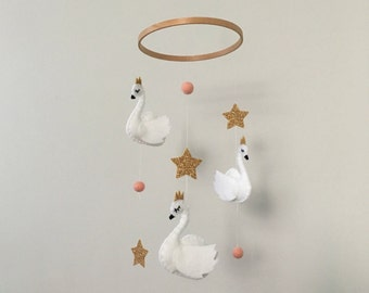 Swan Queen, Glitter Star, Pom Pom Felt Nursery Mobile