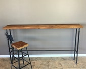 Entry Table, Hallway Table, Nook Table,42 Inch High,Bar height Wood Table,  18 Inch wide -Pipe Table, Reclaimed Wood