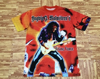 Rare 1999 Ygwie Malmsteen's Japan tour t shirt guitarist rock all over print