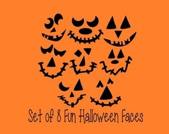 Set of 8 Cute and Fun Halloween Faces; SVG, DXF, PS, Ai and Pdf Digital Files for Electronic Cutting Machines