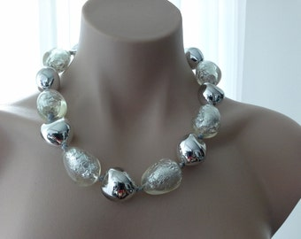 Chunky Clear & Silver Foil Acrylic Resin Beeded Ribbon Necklace
