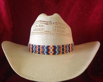 Beaded hat band W/Tassles #1