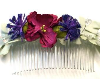 Faux flower comb