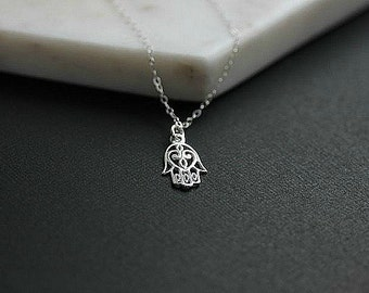 Open  Hamsa Hand Necklace  - Hand of Fatima -Silver Hamsa necklace - Hamsa Necklace in Sterling silver - Gift for her - Yoga necklace