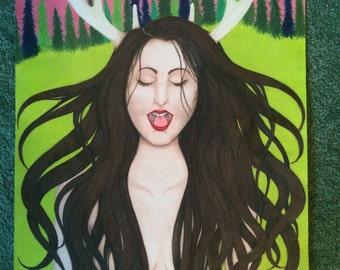 Colored Pencil Drawing of a Woman with Antlers 18 x 24