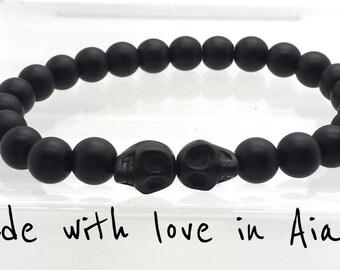 man bracelet matte black agate beads