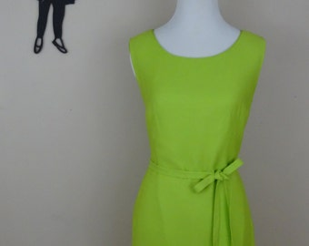 Vintage 1950's Lime Green Dress / 50s Wiggle Dress SM  tr