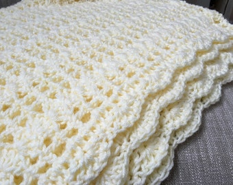 Pale Yellow Blanket, Yellow Blanket, Yellow Crochet Blanket, Crochet Blanket, Baby Blanket