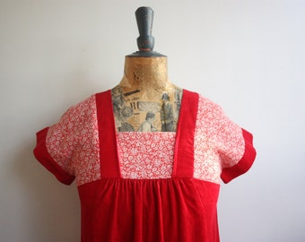 Vtg 70's Red Cord & Floral Maxi Dress