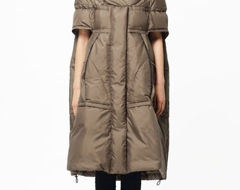 Womens Loose Fitting Down Coat, Winter Women Down Coat, Camel Down Coat For Women