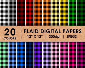Plaid Digital Paper / 20 Plaid Digital Papers / Rainbow Plaid Digital Paper and Patterns / Plaid Digital Paper for Scrapbooking & Decoration