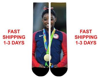 Custom Simone Biles Olympic Gold Crew Socks NEW