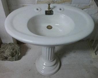 Beautiful french vintage pedestal sink.