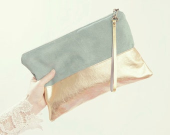 Mint and Gold Wedding Accessory. Gold Leather Clutch. Mint Green Wedding Clutch. Mint Green Clutch. Pastel Bridesmaid Bag.