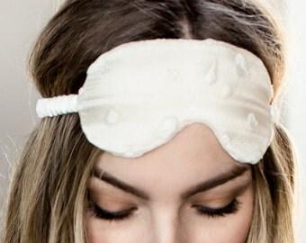 Silk Sleep Mask Eye Pillow Lingerie / White Ivory Hearts French Lace Silk / JANUS Sleep Mask - Alabaster