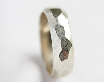 Sterling silver statement ring, silver chunky ring, mens unisex silver ring, faceted, geometric, fathers day, textured, gift for him