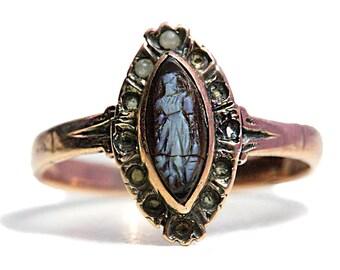 585 Rosegold Ring Gold Kamme Saatperlen Antikschmuck