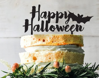Happy halloween Cake topper, Halloween decor,  halloween cake topper, bat for cake decoration, Wooden happy halloween