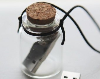 Modern Message in a Bottled USB Necklace Pendant on long black satin cord