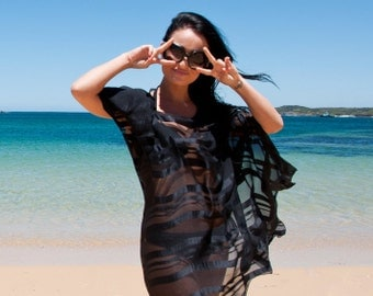 Silk cover-up from Australia - unique, stunning and sexy. Perfect for beach, cruise, resort, holiday, honeymoon. So much more than a kaftan