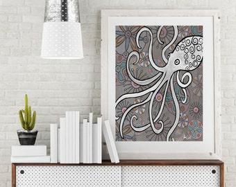 Mid Century Octopus print coastal decor. Retro Nautical octopus wall art. Coastal art print. Octopus art. Octopus Poster. Sea creatures.