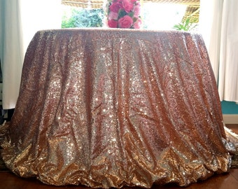 Blush Rose Pink Sequin Tablecloth, Blush Rose Gold Pink Glitz Sequin Tablecloth, Blush Gold Pink Glitz