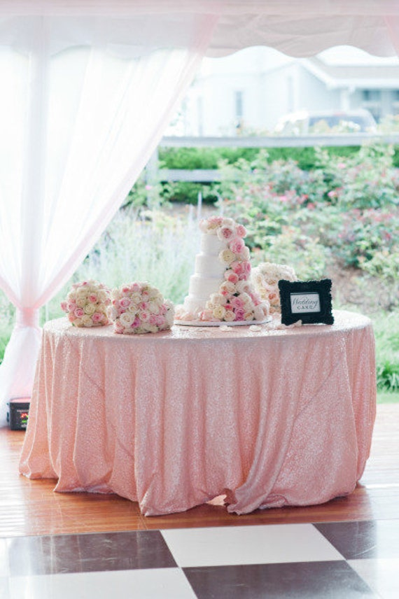 Blush Pink Sequin Table Cloth Blush Pink Glitz Sequin