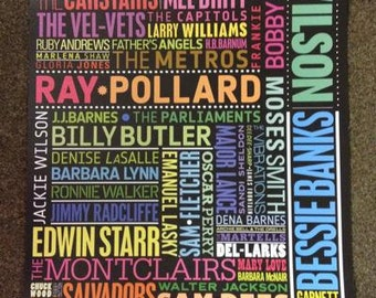 Northern Soul Icons Typographical Poster Signed Numbered Limited Edition On Heavyweight Card Framable Gift