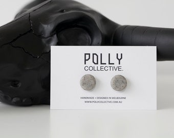 STONE FOX Polly Dots in Grey Granite  - Polymer Clay Earrings