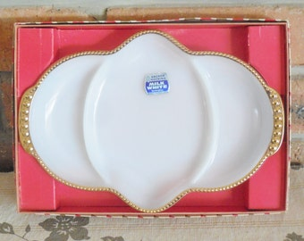 Anchor Hocking Milk White divided serving dish in original box vintage 1960s