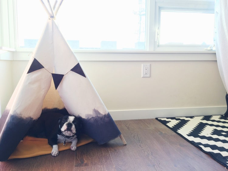 Dip dyed teepee extra large in grey by lovealwaystatianna for Dog tipi diy