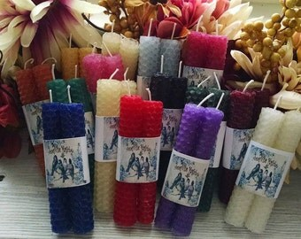 2 Beeswax Mini Spell Candles Chime Candles Prayer Candles Ritual You choose the color.