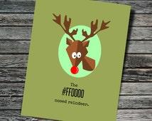 The #FF0000 Nosed Reindeer Nerdy Christmas / Holiday Card | Programmer, Web Developer, Professor, Teacher, Student, Rudolph, HTML, Hex Color