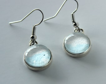 Pale Blue and White Watercolor Dangle Earrings #ET12