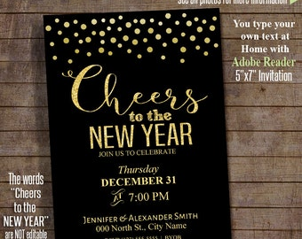 New Year Invitation, Cheers to the New Year, Printable template, Instant download Self Editable PDF file RIA-A156