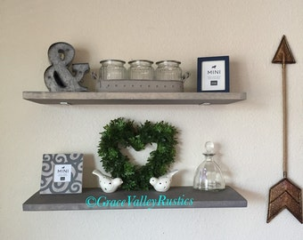 1 Set (2) Farmhouse Style Shelves