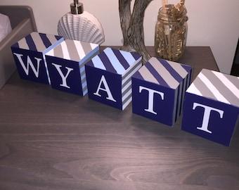Nursery Name Wooden Blocks: Customized 2 Inch Blocks